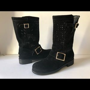 JIMMY CHOO BLACK SUEDE LEATHER MID CALF BOOTS